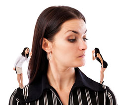 Businesswoman undecided which of her elf businesswomen advice to follow